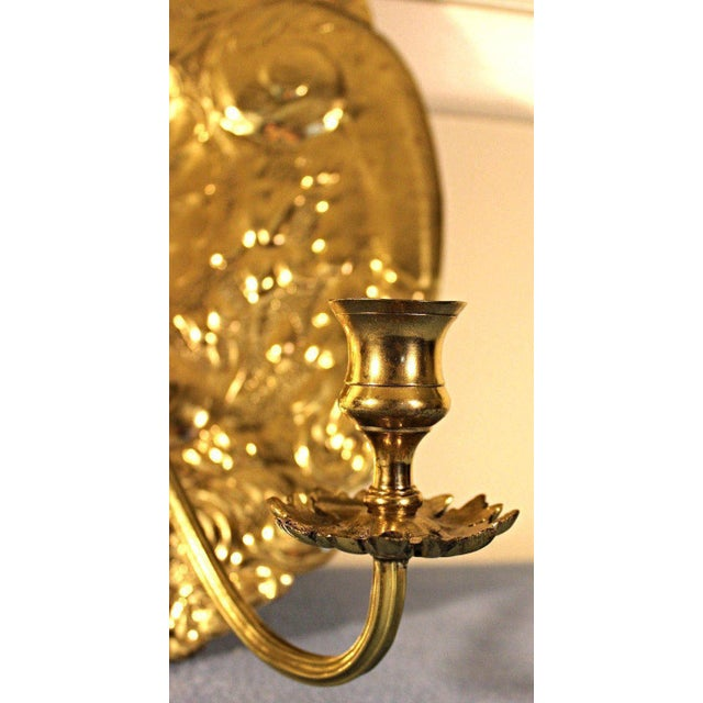 Baroque Mottahedeh Double Baroque Repousse Brass Wall Sconces - A Pair For Sale - Image 3 of 9