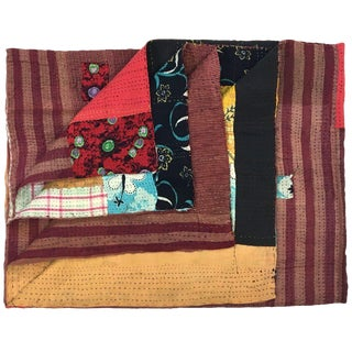 Raspberry and Yellow Vintage Kantha Quilt | Sari Quilt Throw For Sale