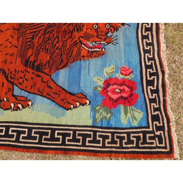 Textile Vintage Gabbeh Lion Kilim Rug - 5'1'' X 7'3'' For Sale - Image 7 of 13