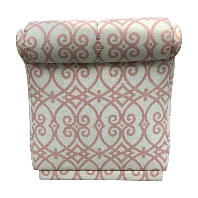 90s Roll Back Chair Armless Chair Newly Upholstered in Vintage Fabricut Linen For Sale In Los Angeles - Image 6 of 8