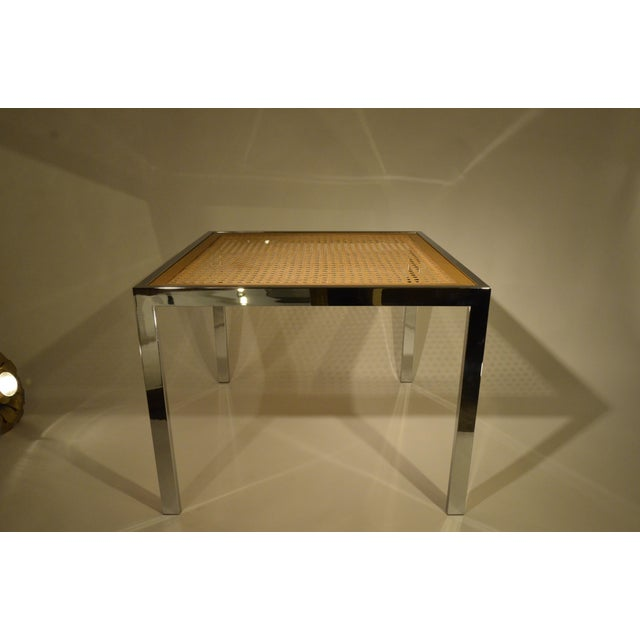 Milo Baughman Vintage Mid-Century Chrome, Glass and Wicker Game Table - Image 2 of 4