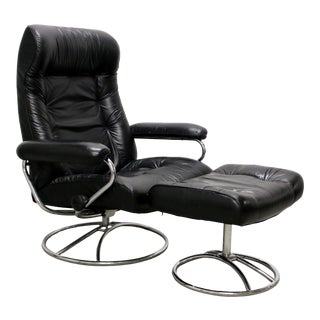 1970s Vintage Ekornes Stressless Black Leather Recliner Chair and Ottoman For Sale