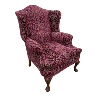 Vintage Traditional Style Ball & Claw Foot Wing Chair For Sale