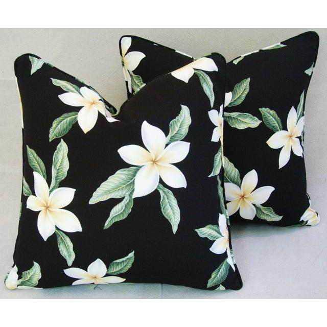 Custom Tropical Blossom Barkcloth Pillows - A Pair - Image 2 of 10