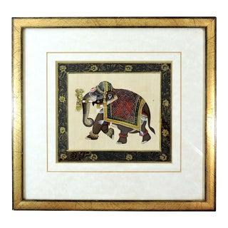 Black and Gold Framed Vintage Ceremonial Indian Elephant Painting For Sale