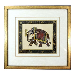 Framed Vintage Hand Painted Black and Gold Ceremonial Indian Elephant Picture For Sale