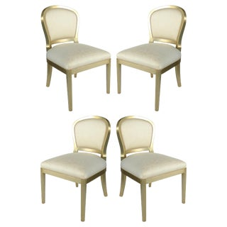 Silver Leaf Dining Chairs With Fluted Legs - Set of 4 For Sale