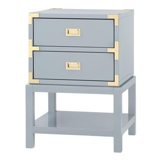 Bungalow 5 Tansu 2-Drawer Side Table, Gray High Gloss Lacquered Wood For Sale