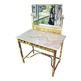 French Brass and Onyx Vanity For Sale
