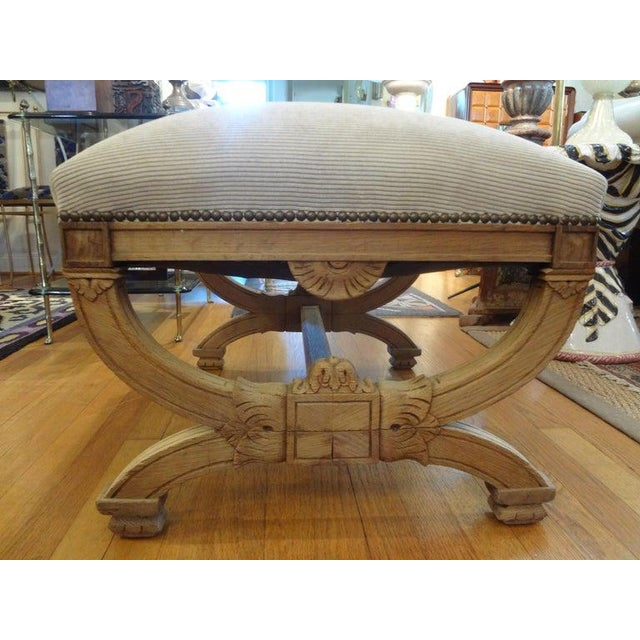 Large 19th century French Louis XVI style bleached walnut bench, ottoman, stool or tabouret professionally upholstered in...