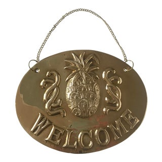 Vintage Solid Brass Hanging Welcome Sign For Sale