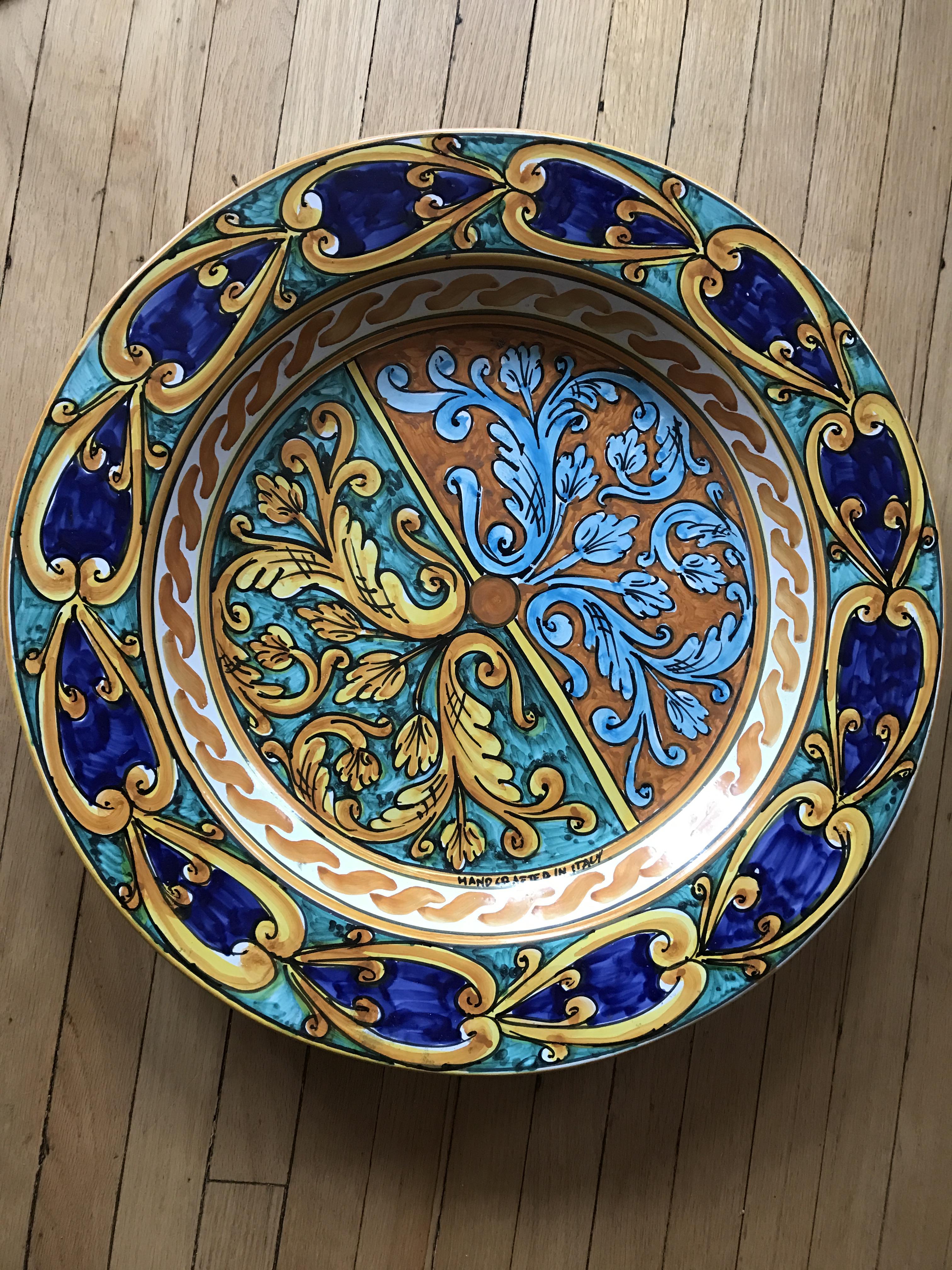 Italian Hand Painted Ceramic Plate \u0026 Stand - Image 3 ...  sc 1 st  Chairish & Italian Hand Painted Ceramic Plate \u0026 Stand   Chairish