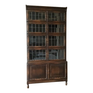 1910s Antique Leaded Glass Bookcase For Sale