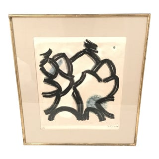 20th Century Composition in Black and Colors Lithograph Print