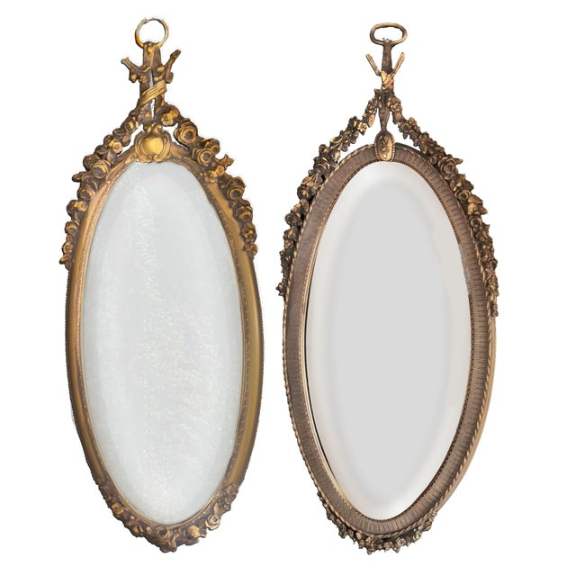 19th C. Renaissance Revival Gesso & Carved Giltwood Oval Beveled Wall Mirrors - a Pair For Sale - Image 13 of 13