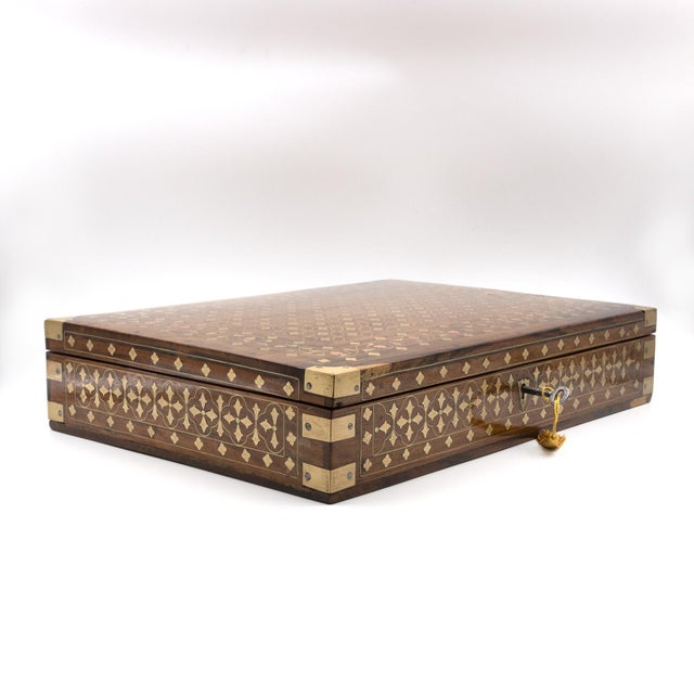 Anglo-Indian Anglo Indian Teak Box With Brass Inlay, India, Circa 1860 For Sale - Image 3 of 11
