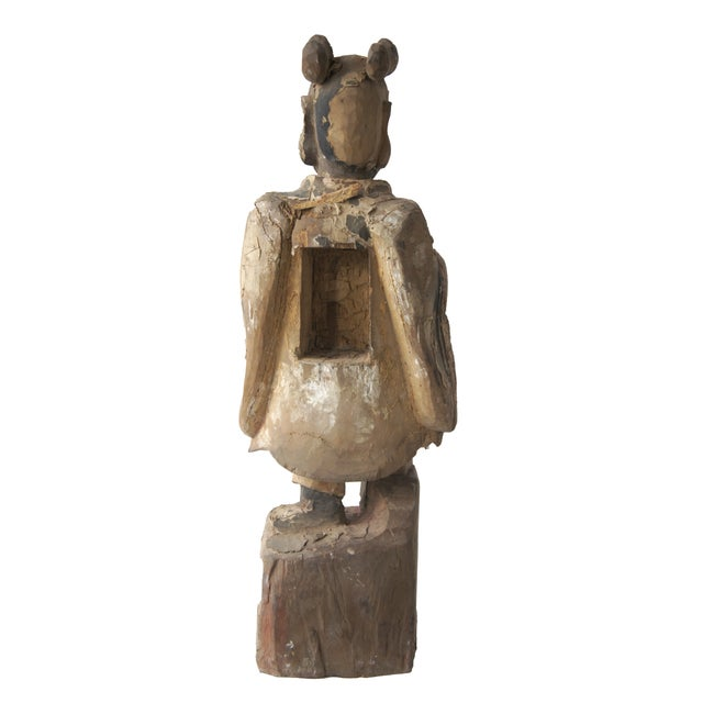 Late Qing Dynasty Carved Wooden Ancestor Sculpture - Image 2 of 2