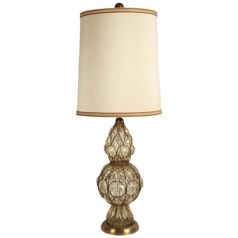 Fine Murano Glass Italian Table Lamp By Marbro Decaso