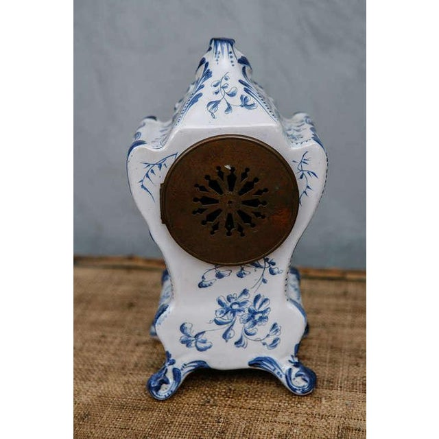 Blue and White French Shelf Clock For Sale - Image 4 of 6