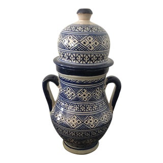 Moroccan Hand-Painted Ceramic Jar For Sale