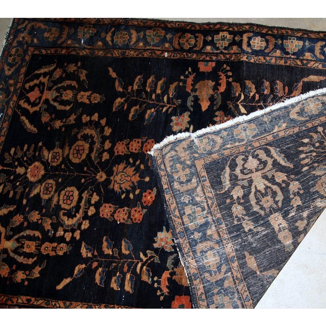 Blue 1920s, Handmade Antique Persian Sarouk Rug 3.3' X 5.4' For Sale - Image 8 of 9