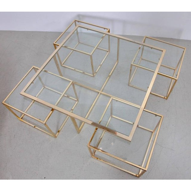 1960s Huge Coffee Table in Brass with Four Nesting Tables by Maison Charles For Sale - Image 5 of 6