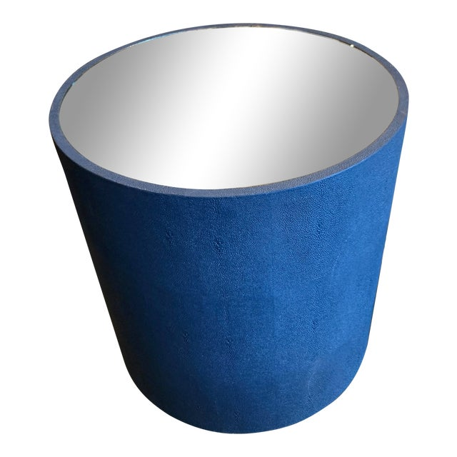 Contemporary Blue Faux Shagreen and Mirror End Table For Sale