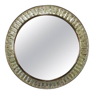 Chiseled Glass and Brushed Nickel Mirror by Ghio Studio For Sale