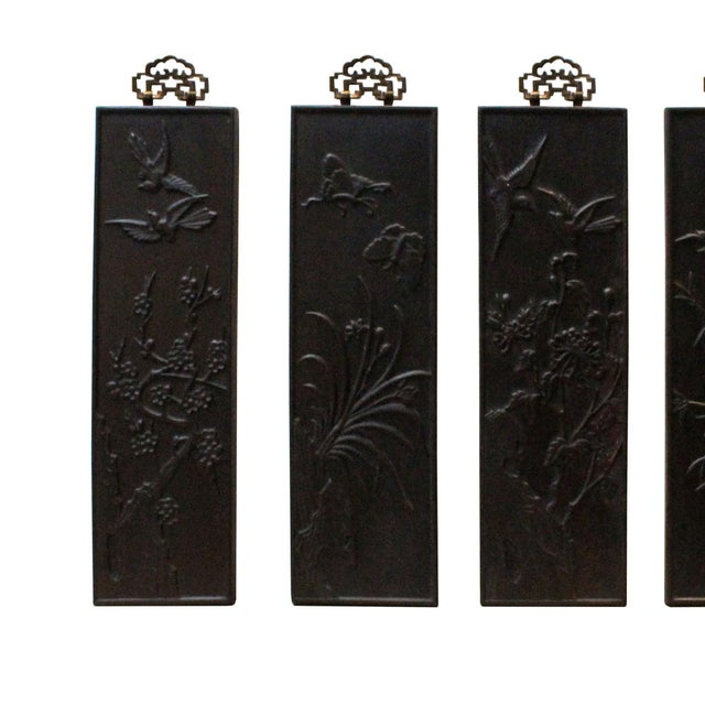 Chinese Set of 4 Birds & Flowers Wood Decor Wall Panels For Sale In San Francisco - Image 6 of 8