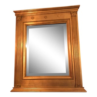 Burnished Gold Gilt Wood Beveled Mirror For Sale