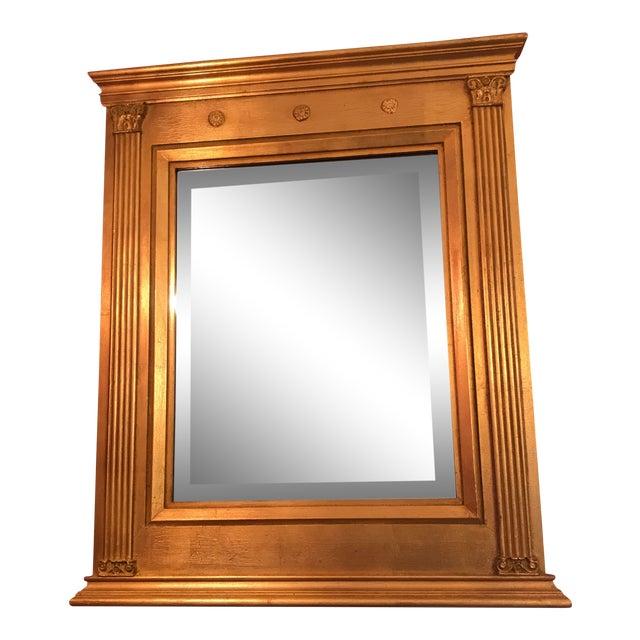 Burnished Gold Gilt Wood Beveled Mirror For Sale