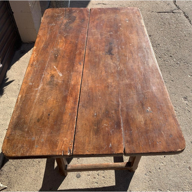 Rustic French Fruitwood Table With Stretchers For Sale In Denver - Image 6 of 13