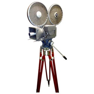 All Factory Original With Wood Tripod Cinema Newsreel Camera As Sculpture For Sale