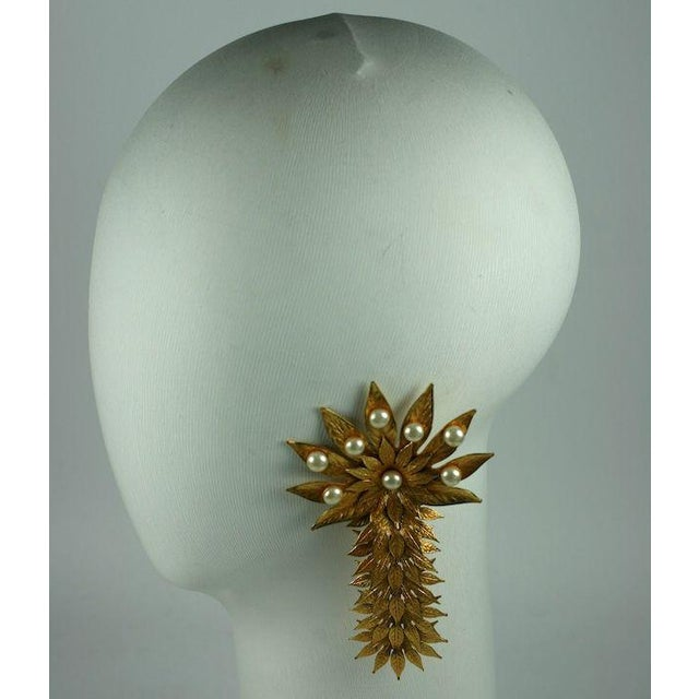 Dominique Aurentis Massive Pearl and Gilt Metal Palm Frond Earclips For Sale - Image 4 of 5