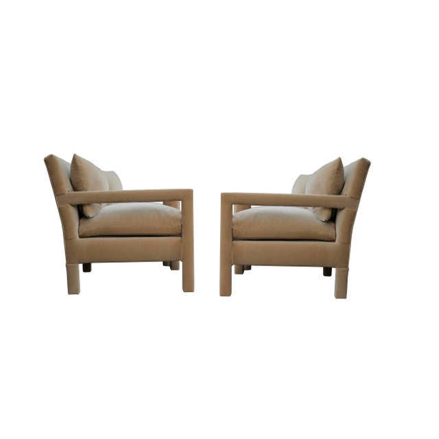 Stunning pair of 1970's style Parson Lounge Chairs by Milo Baughman for Bernhardt, newly upholstered in camel taffy velvet.