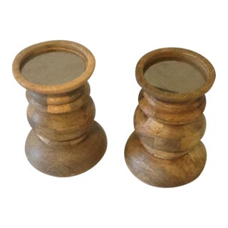 Rustic Butcher Block & Mirror Pillar Candle Holders – a Pair For Sale