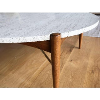Danish Modern Bruno Mathsson for Dux Italian Travertine and X Base Brass Round Coffee Table Preview