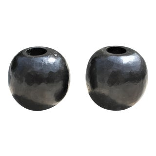 Vintage Round Modernist Carved Stone Candle Holders For Sale