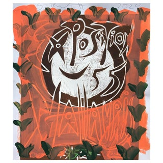 Contemporary 'Orange Face' Framed Picasso Poster Painting by Sean Kratzert For Sale