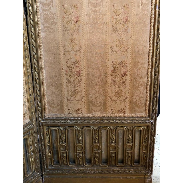 Wood Louis XVI Style 3-Panel Folding Screen / Room Divider With French Tapestry For Sale - Image 7 of 13