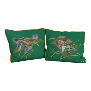 Vintage 1970s Needlepoint Pillows Mallards in Flight- a Pair For Sale