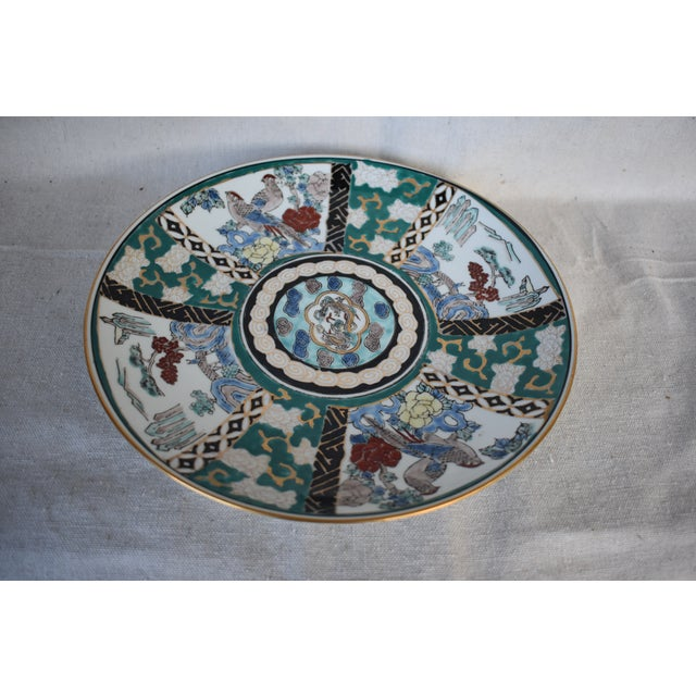 Asian Vintage Japanese Hand Painted Plate For Sale - Image 3 of 7