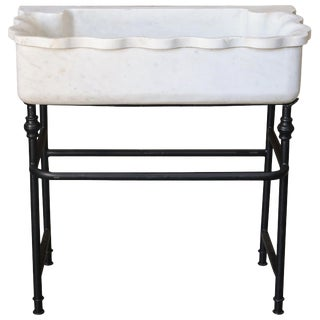 Large Hand Carved Marble Sink on Custom Iron Stand For Sale