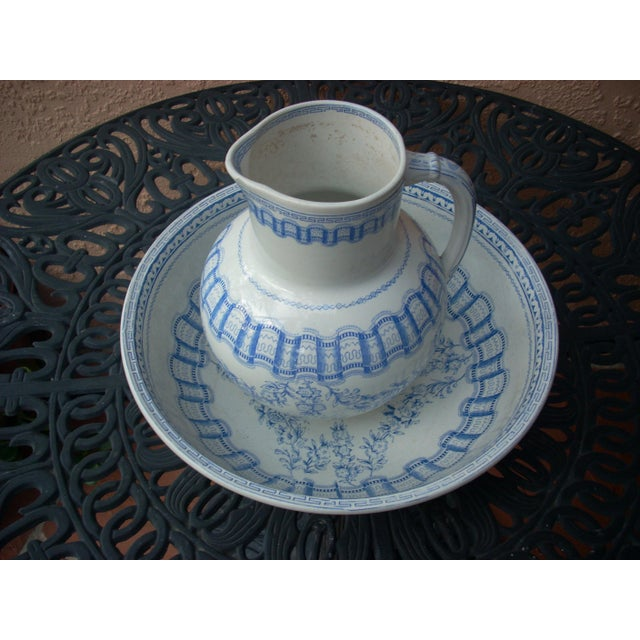 Blue & White Wash Bowl Set For Sale - Image 5 of 6