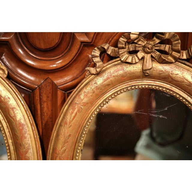 Gold 18th Century French Louis XVI Oval Gilt Ribbon Bow Mirrors - a Pair For Sale - Image 8 of 9