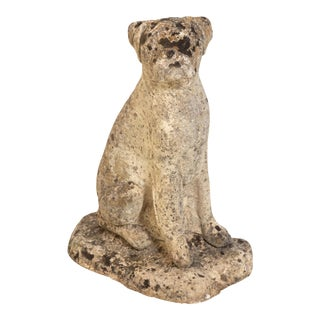Antique Boxer Cast Stone Garden Ornament For Sale