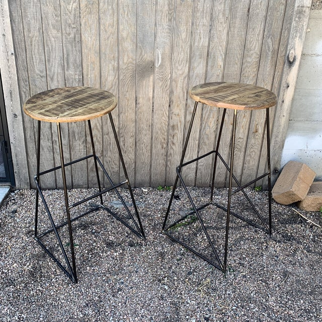 Modern Kalalou Rustic Wood and Metal Bar Stools- a Pair For Sale - Image 10 of 13