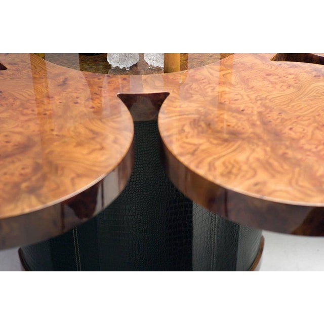 2000s Unique Formitalia Burl Walnut Dining Table with Built-in Lift For Sale - Image 5 of 9