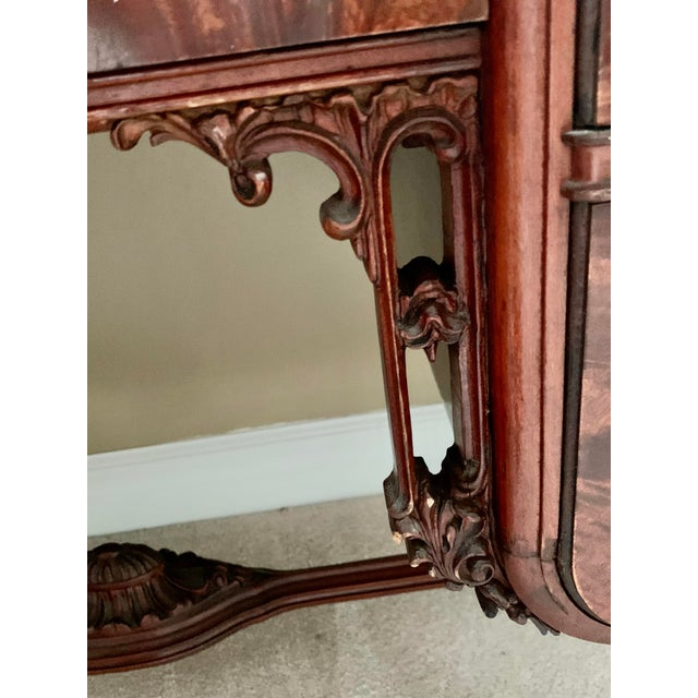 Wood Early 20th Century Williamsport Furniture Company Chinese Chippendale Vanity with Mirror and Bench For Sale - Image 7 of 13