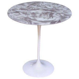 1960 Italian White Round Tulip Table With Laminated Gray Hand Painted Fabric Top